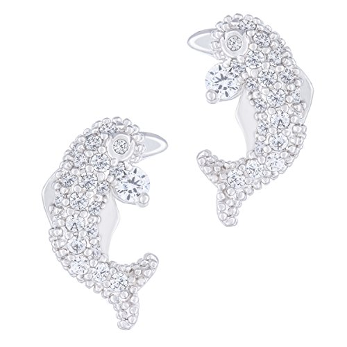 ORROUS & CO  Womens  18K White Gold Plated Cubic Zirconia Dolphin Stud Earrings, One Size
