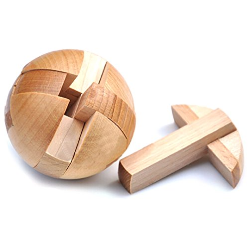 KINGOU Wooden Puzzle Magic Ball Brain Teasers Toy Intelligence Game Sphere Puzzles for Adults/Kids