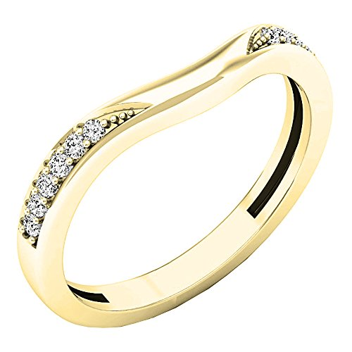 0.10 Carat (ctw) 14K Gold Round Diamond Ladies Anniversary Wedding Band Guard Ring 1/10 CT