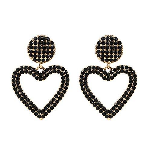 Black Crystal Open Heart Statement Drop Earrings KELMALL COLLECTION