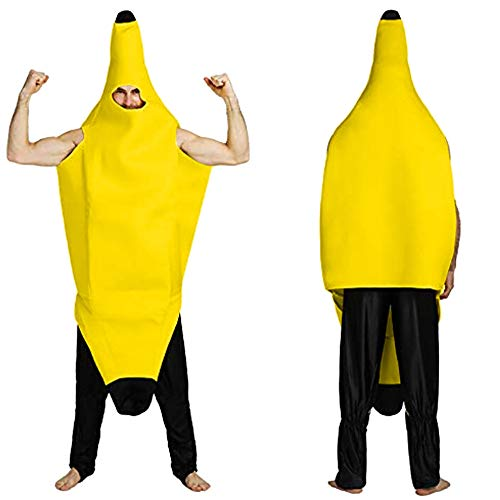 Banana Dance Suit Novelty Men Women Character Costume Tops Party Carnival Bar Stage (L, Yellow) -