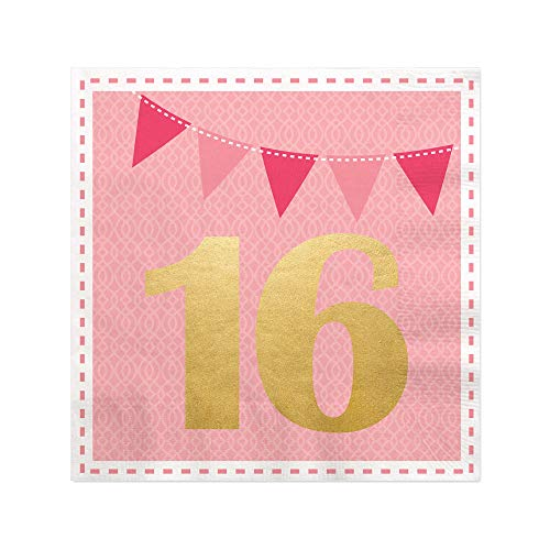 Sweet 16 with Gold Foil - 16th Birthday Party Cocktail Beverage Napkins (16 Count)