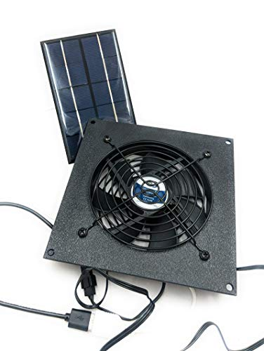coolerguys Solar Powered USB Waterpoof Fan Kit for Chicken Coops, Greenhouses, Doghouses, Sheds, and Other Enclosures