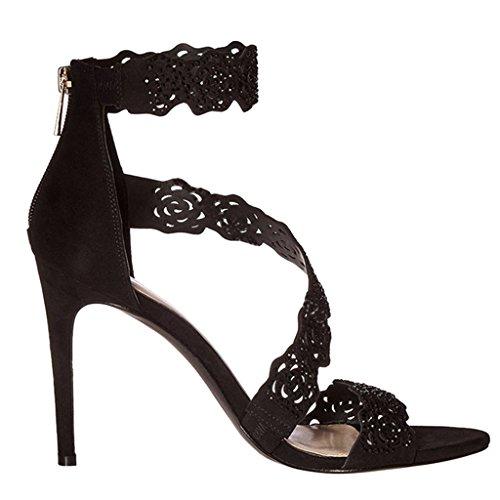 gao Women's High Heel Sandals Lace Fine With Elegant Park Girl's High Heels Black blUJND73d