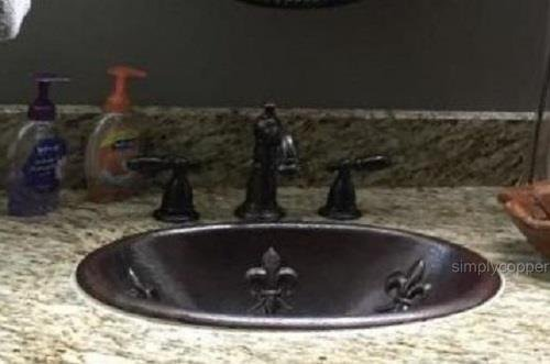 SimplyCopper 19 Oval Copper Bathroom Drop In OR Vessel Bathroom Sink with Fleur De Lis Design