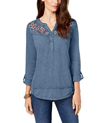 Style & Co. Womens Petites Embellished Embroidered Henley Top Blue PS