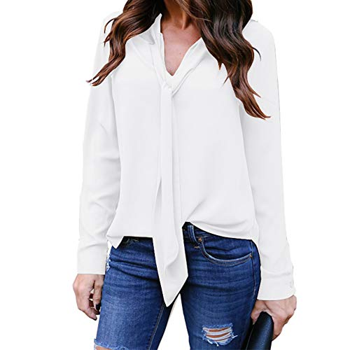 Womens Solid Long Sleeve V-Neck Fancy Tie Chiffon Office Shirt Elegant Tops White