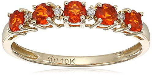 10k Yellow Gold Mexican Fire Opal and Diamond Accented St...
