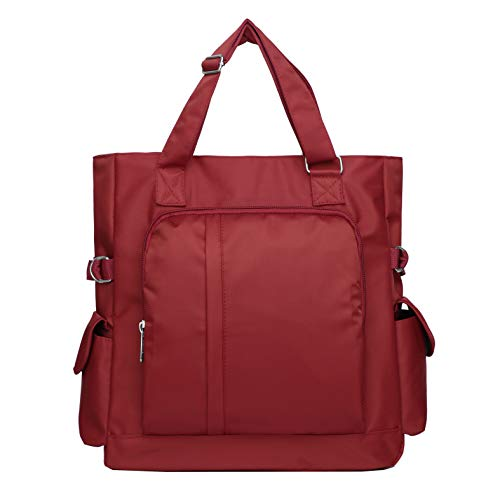 Waterproof Nylon Oxford Multi-pocket Tote Shoulder Bags Travel Laptop Briefcase Work Purse and Handbags for Women & Men (086-Red) (Pocket Multi Womens Briefcase)