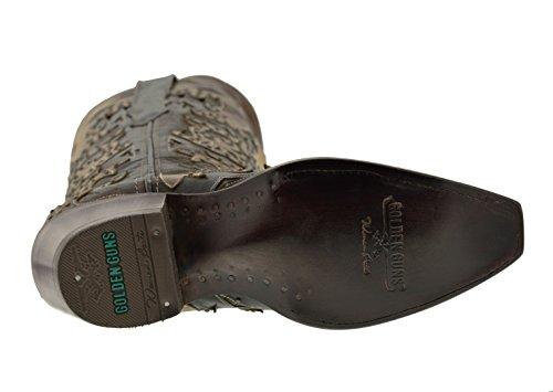 Cowboy Profesjonelle Kvinner Brun Spekket Overlegg Motiv Brodert Cowgirl Western Boots Klipp Tå Brun