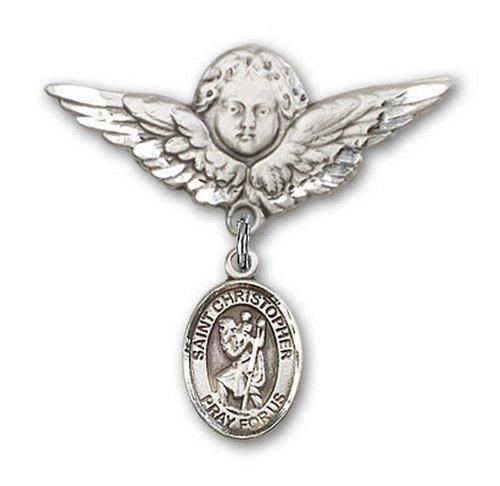 Icecarats Créatrice De Bijoux En Argent Sterling St. Christopher Charme Ange Broche De Badge 1 1/8 X 1 1/8