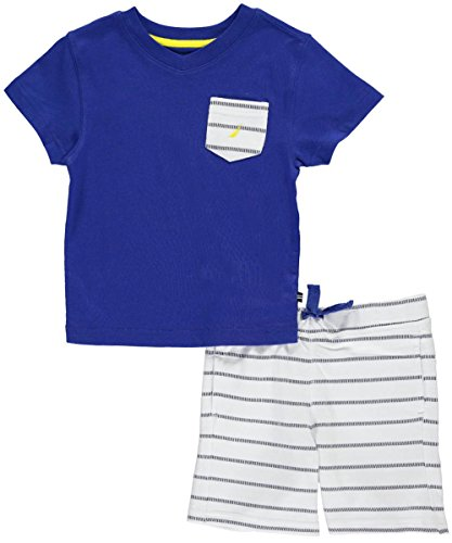 [Nautica Toddler Boys' Two Piece Set with V-Neck Tee with Knit Short, Cobalt, 3T] (Knit Two Piece Set)