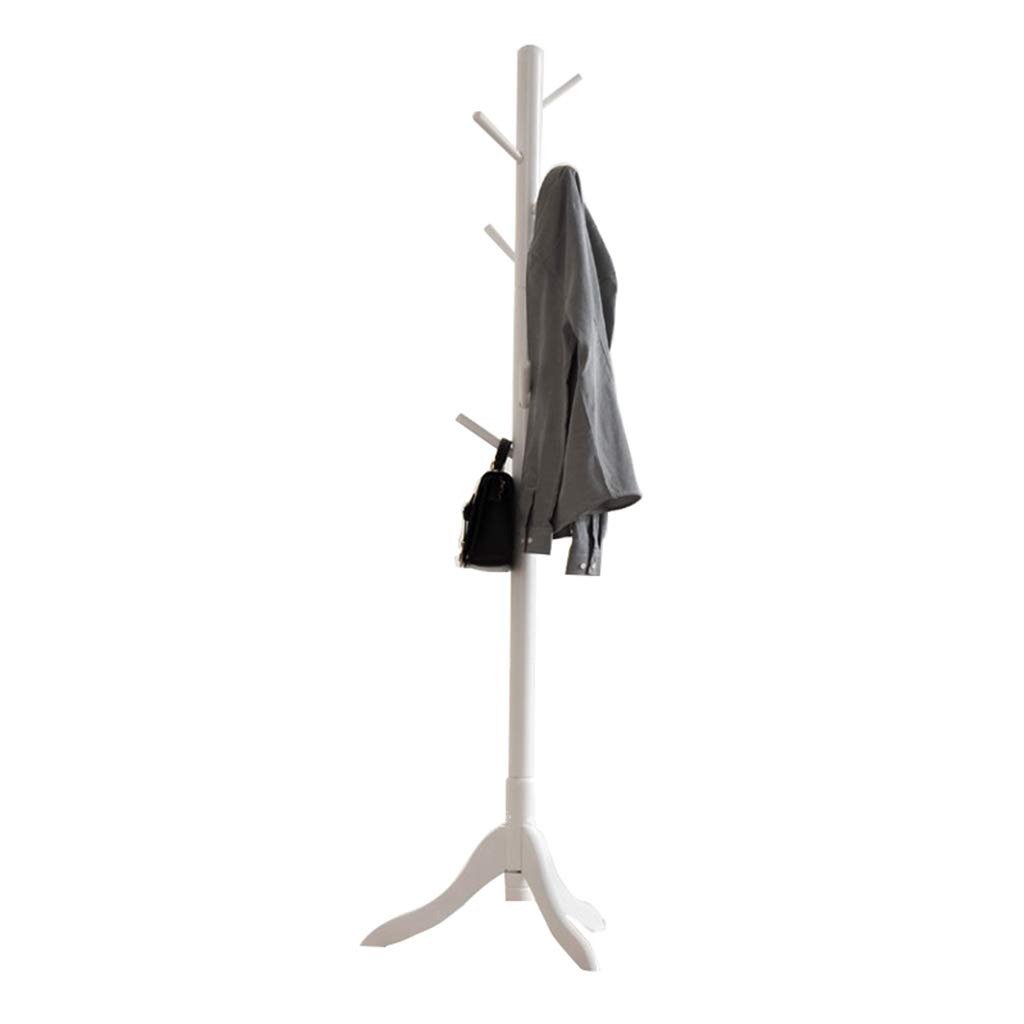 White Coat Racks Standing Solid Rubber Wood Hall Tree with Tripod Base,Floor-Standing Coat Rack 8 Hooks, Also Suitable for Kids (White, Wood color, Brown, Honey color) Multifunction Storage Shelf