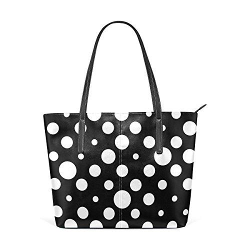 Ethel Ernest Black White Polka Dot Purse PU Leather Shoulder Tote Bag Purse for Womens Girls Ladies