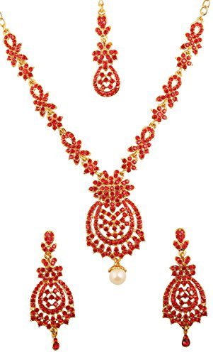 Touchstone Indian Bollywood Floral Inspired Red Rhinestones Designer Bridal Jewelry Necklace Set For Women in Antique Gold ()