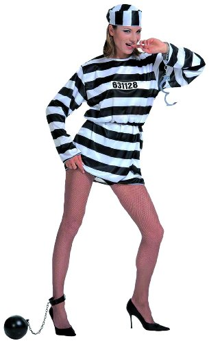 Ladies Prisoner Lady Costume Small Uk 8-10 For Prison Convict Jail Fancy Dress