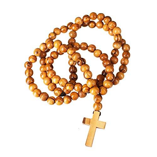 "- Master451's Holy Land Men's Rosary (26"" Necklace) Catholic Prayer Beads | Traditional Handmade Craftsmanship from Bethlehem | Natural Olive Wood | Religious Jewelry"