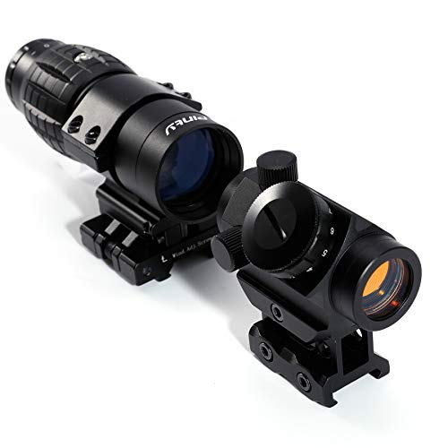 Pinty Tactical 3-4 MOA Red Dot Sight Scope with 3X Magnifier Combo
