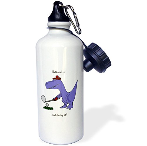 (3dRose wb_203785_1 Funny Retired Blue Trex Dinosaur Playing Golf Sports Water Bottle, 21oz, Multicolored)
