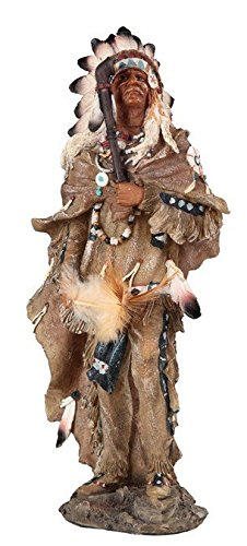 StealStreet Native Indian Chief with Tobacco Pipe Standing Tall Painted Figurine