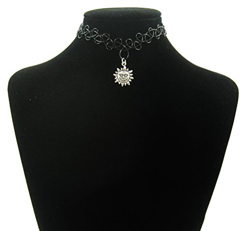 AmazingOS® Vintage 80s 90s Black Tattoo Stretch Choker Sun Pendant Necklace Jewerly