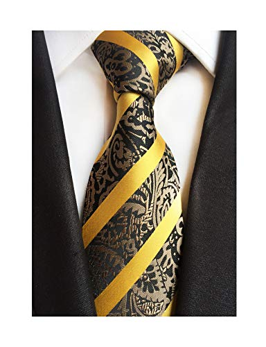 Mens Yellow Gold Stripe Suit Ties Silk Paisley Party Neckties for Father BF ()