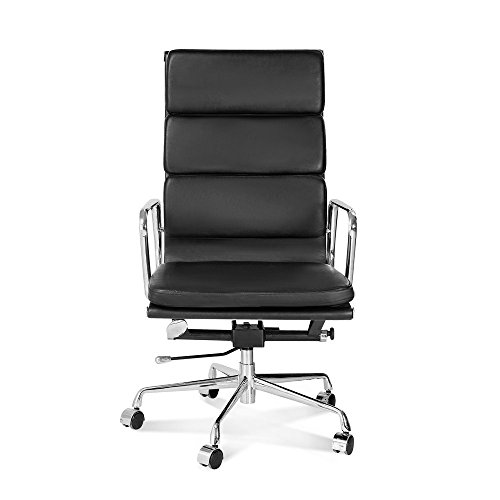Artis Decor Soft Pad Low and High Back Executive Office Chair Made with Upholstered Genuine Italian Leather, Swivel and Polished Aluminium Frame - High Back Black
