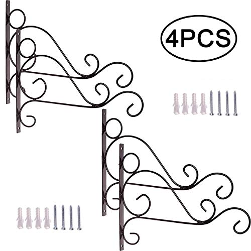 TIHOOD 4PCS Metal Plant Bracket Iron Wall Mount Lanterns Hangers for Hanging Bird Feeders, Lanterns, Wind Chimes, Planters, Outdoor Decoration Hooks ()