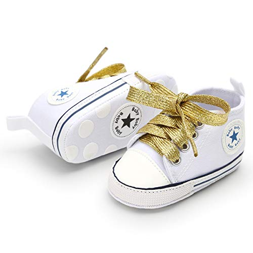 BENHERO Baby Girls Boys Canvas Shoes Toddler Infant First Walker Soft Sole High-Top Ankle Sneakers Newborn Crib Shoes (0-6 Months M US Infant, C-White Gold)