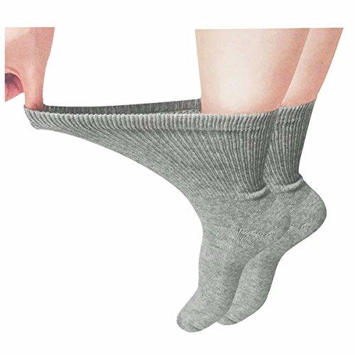 Diabetic Socks Antibacterial Crew Suit for Men and Women, Grey-2 Pairs, Shoe:5-12 US -