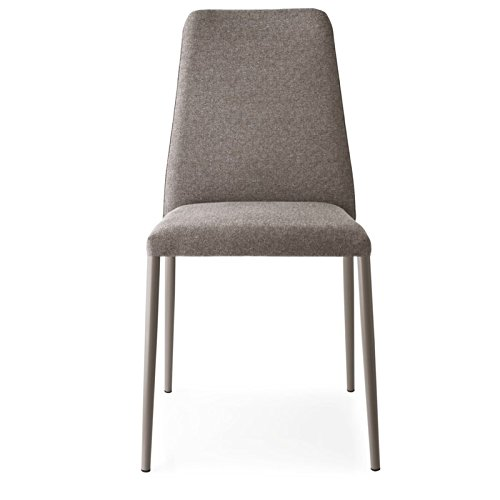 Calligaris Fabric Chair - Beautiful Taupe fabric with metal legs chair