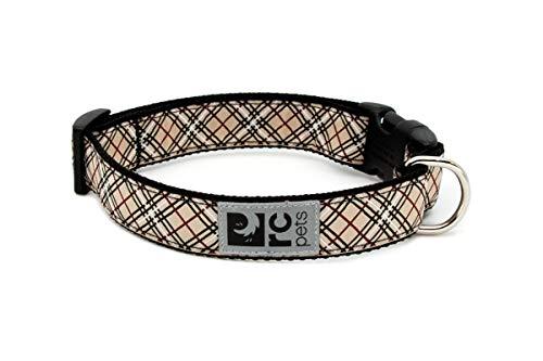 RC Pet Products 1-Inch Adjustable Dog Clip Collar, 12 to 20-Inch, Medium, Tan Tartan
