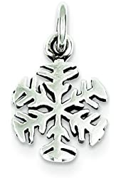 "Sterling Silver Antiqued Snowflake Charm & 18"" Chain"
