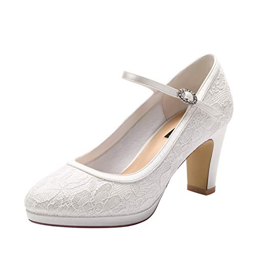 ERIJUNOR E2400A Mary Jane Pumps Lace Wedding Bridal Shoes for Women Wide Width Comfortable Block Heels Ivory Size 7 ()