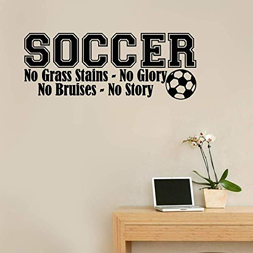 Tiude Removable Vinyl Mural Decal Quotes Art Soccer No Grass Stains No Glory No Bruises No Story for Boys Room