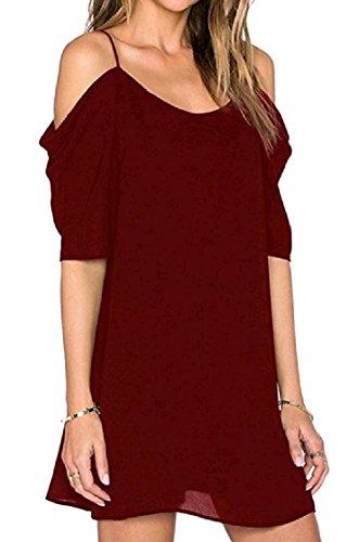 Rosso Manicotto Spalla Da Partito Chiffon Midi Vestito Del Coolred Della donne Vino Breve Elegante Dell'imbracatura Fredda Z11Aq