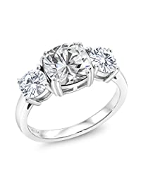 925 Sterling Silver 3-Stone Meghan Ring Forever One (GHI) Cushion 3.40ct (DEW) Created Moissanite by Charles & Colvard