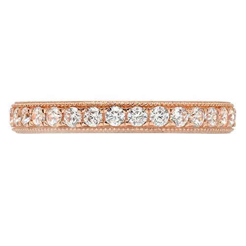 1.1ct Brilliant Round Cut Designer Pave Statement Solitaire Stacking Band 14k Rose Gold, 6.5, Clara Pucci by Clara Pucci