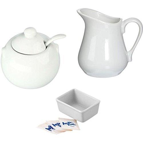 BIA Cordon Bleu Porcelana Color blanco crema y azúcar Set Incluye Dispensador de Leche Jarra, azucarero con tapa y cuchara,...