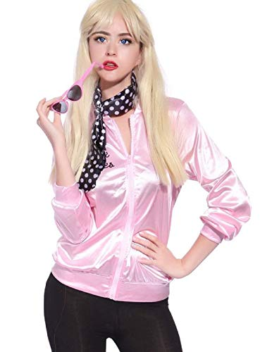 TDmall 50S Grease T-Bird Danny T Bird / Pink Ladies Jacket Costume Fancy Dress (M+Scarf+Glasses, Women) -
