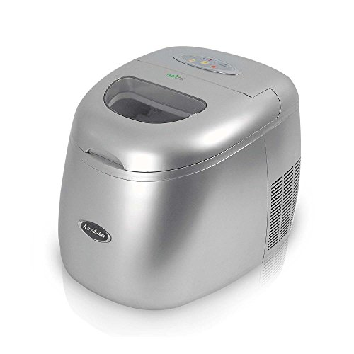 Upgraded Version NutriChef Portable Ice Maker Machine, Stain Resistant, Countertop Ice Maker With Built In Freezer, Restaurant Style Ice Machine, Silver (PICEM15)