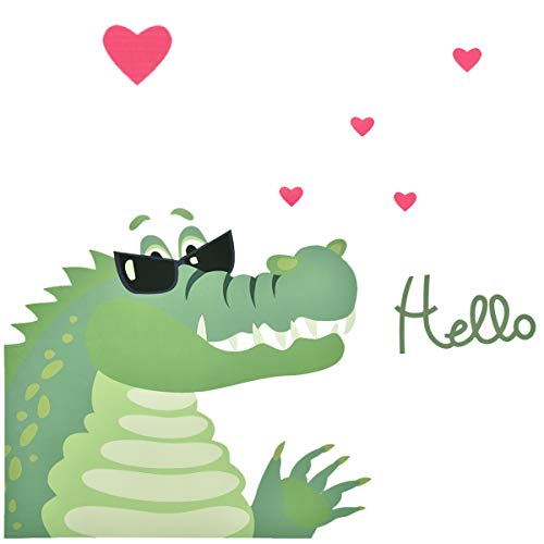 Animal Wall Stickers Crocodile, Cartoon Animal Wall Decals with Cute Alligator and Heart Pattern, Peel and Stick Removable Baby Wall Stickers for Kids Nursery Living Room, 15.8''x1.3''x1.3'' -