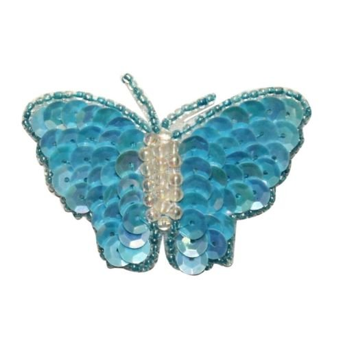 ID 2215 Sequin Wing Beaded Butterfly Patch Fairy Garden Insect Iron On Applique for Accessories - Bags/Purses, Apparel - Coat/Jacket, Apparel - Jeans/Pants, Children, Crafts by SayrusPlay Beaded Butterfly Jacket