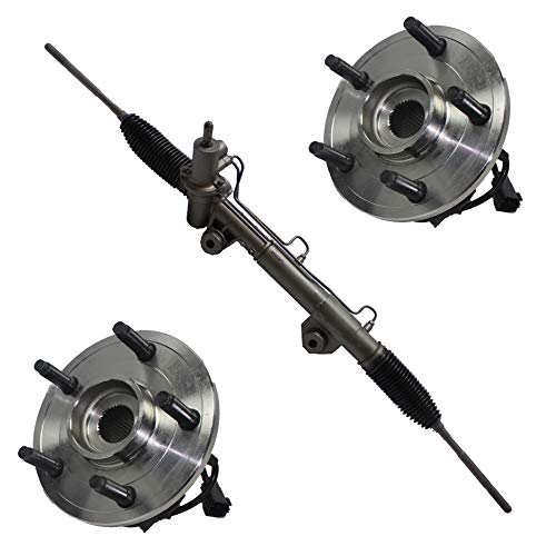 Detroit Axle - 1 Rack And Pinion + 2 Front Wheel Hub and Bearing for 2002 2003 2004 2005 2006 Dodge Ram 1500 w/ABS ()