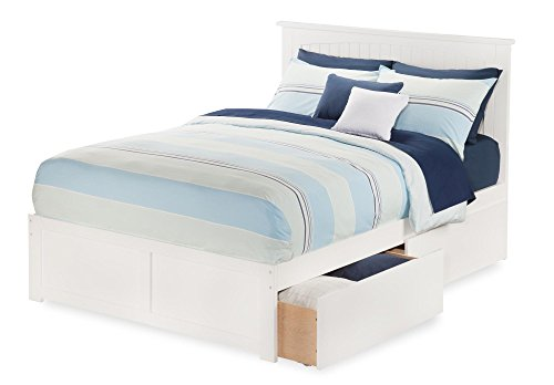 Atlantic Furniture Nantucket Bed with Flat Panel Foot Board and 2 Urban Bed Drawers, Full, (Full Flat Panel Drawer)