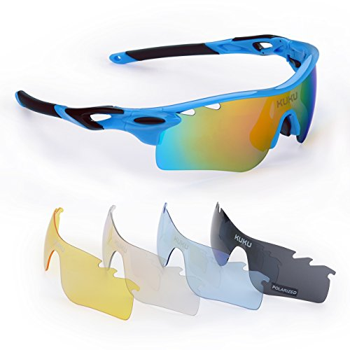 FiveBox Polarized U.V Protection Sports Glasses ,Cycling Wrap Sunglasses with 5 Interchangeable Lenses Unbreakable for Riding Driving Fishing Running Golf And All Outdoor Activities With Retail Package-Black And Blue.