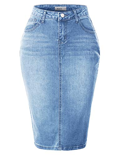 RK RUBY KARAT Womens Stretchy Mid Rise Push Up Cotton Denim Jean Pencil Midi Skirt, Light, Large ()