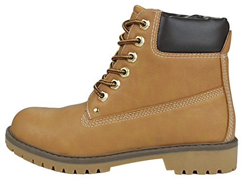Women Zony Fashion Two Tone Lace-Up Padded Collar Ankle Combat Military Work Boots Tan lzOEmmm