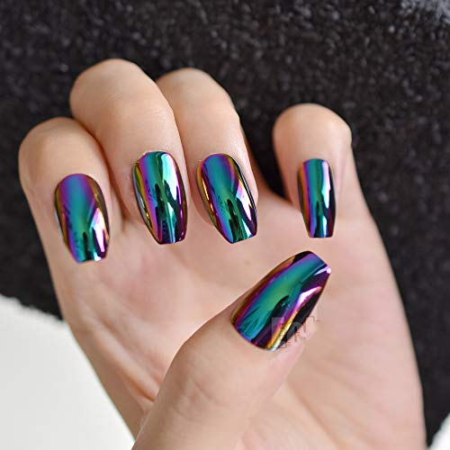 Super Holographic Blue Purple Coffin Nails Mirror Chrome Square Ladies Fake Nails Quality Tips For Fingers Z905 -