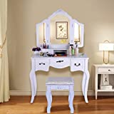 Peigen Vanity Set-Make-up Dressing Table- Tri-Folding Necklace Hooked Mirror, Vanity Beauty Station Makeup Table And Wooden Stool 3 Mirrors And 5 Organization Drawers Set (White)